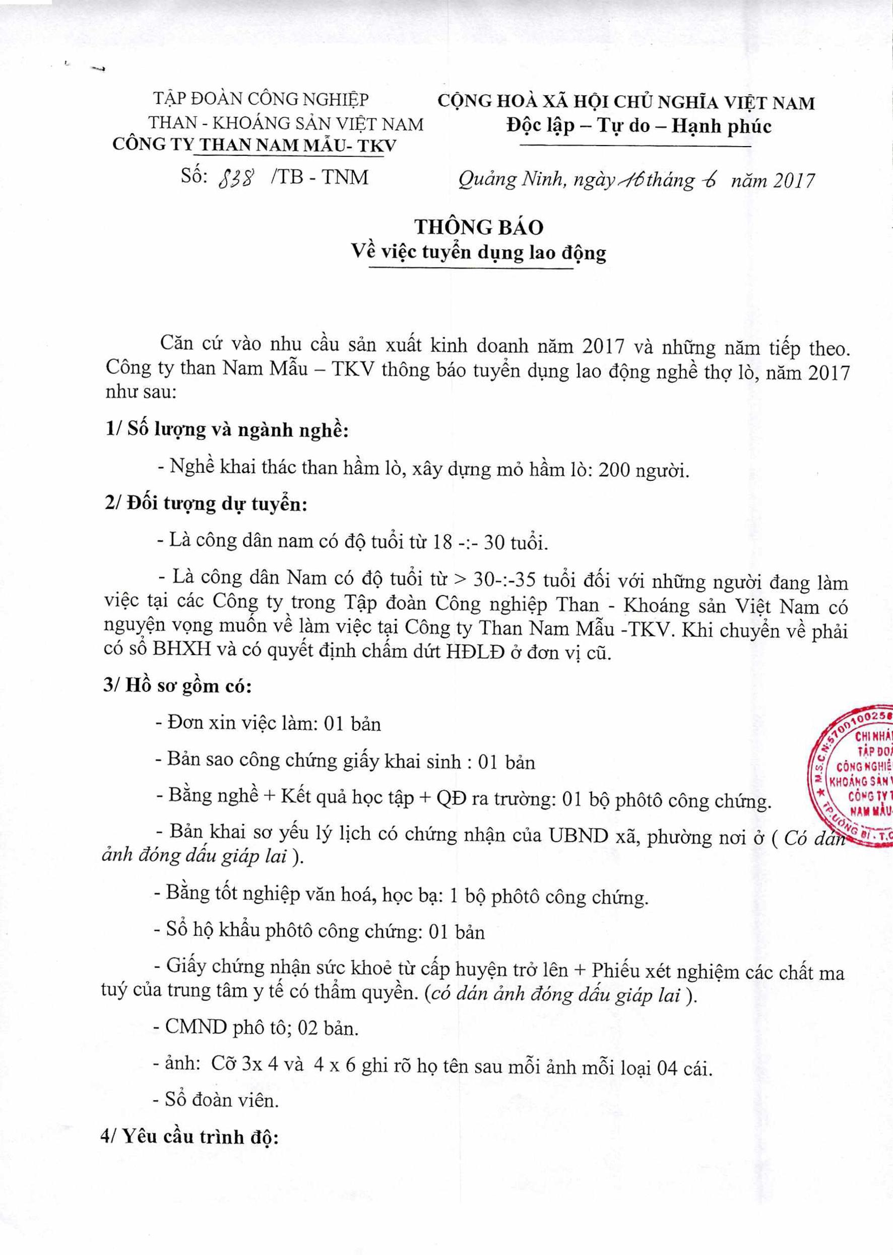 Công ty Than Nam Mẫu -TKV thông báo tuyển dụng lao động (1)