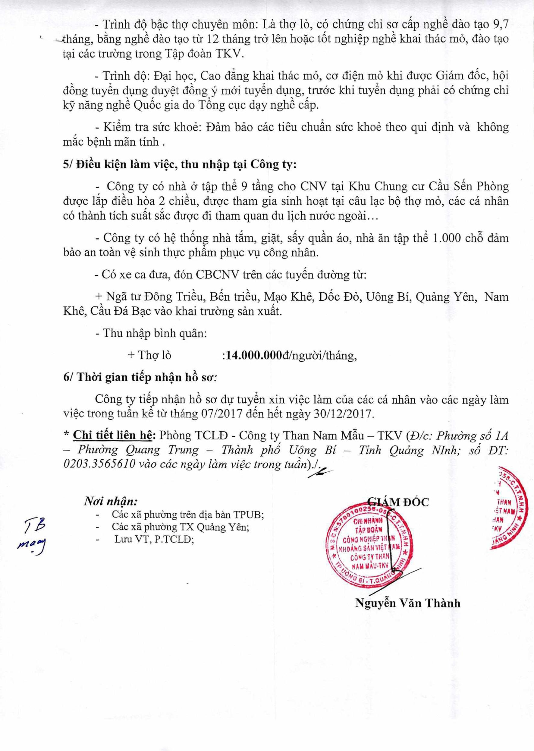 Công ty Than Nam Mẫu -TKV thông báo tuyển dụng lao động (2)